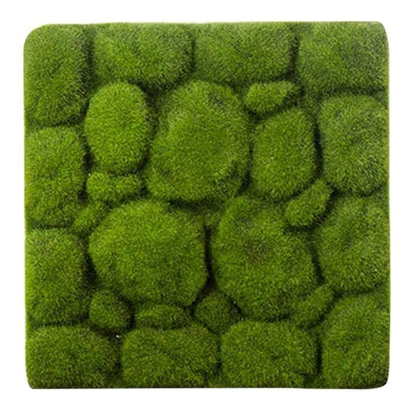 Grass Mat- Stone Shape Indoor Green Artificial Lawns Turf Carpets Fake Sod Moss for Home Hotel Wall Balcony Decor