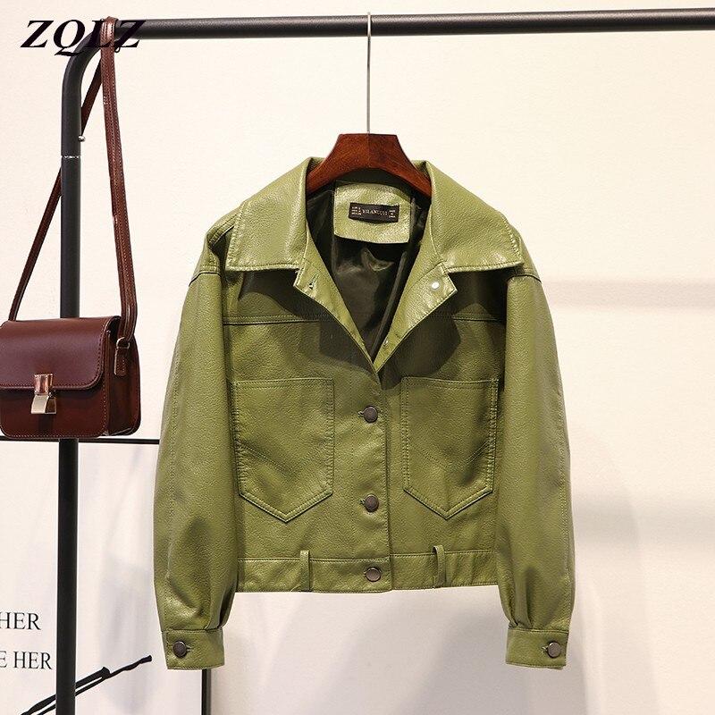 معطف جلد نسائي ZQLZ, معطف جلد نسائي للدراجات النارية لفصل الربيع والخريف قصير أسود اللون