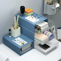 drawer type plastic transparent multi layer storage box office desk cabinets can be stacked student dormitory finishing box