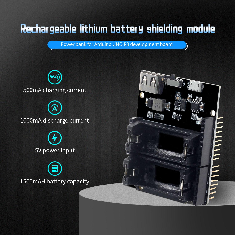 ESP8266 ESP32 блок питания, перезаряжаемый Двойной 16340 литиевый аккумулятор, зарядное устройство, щит, модуль для Arduino UNO R3, плата, внешний аккумуля...