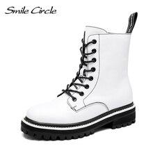 Smile Circle, Botines de cuero genuino para mujer, botas cortas para mujer, zapatos de moda para motocicleta, botas informales de otoño e invierno, negro