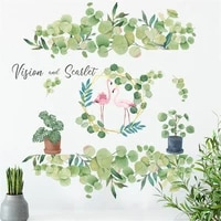 tofok flamingo in creative green leaves home decoration stickers self adhesive paper simple decorative wall stickers