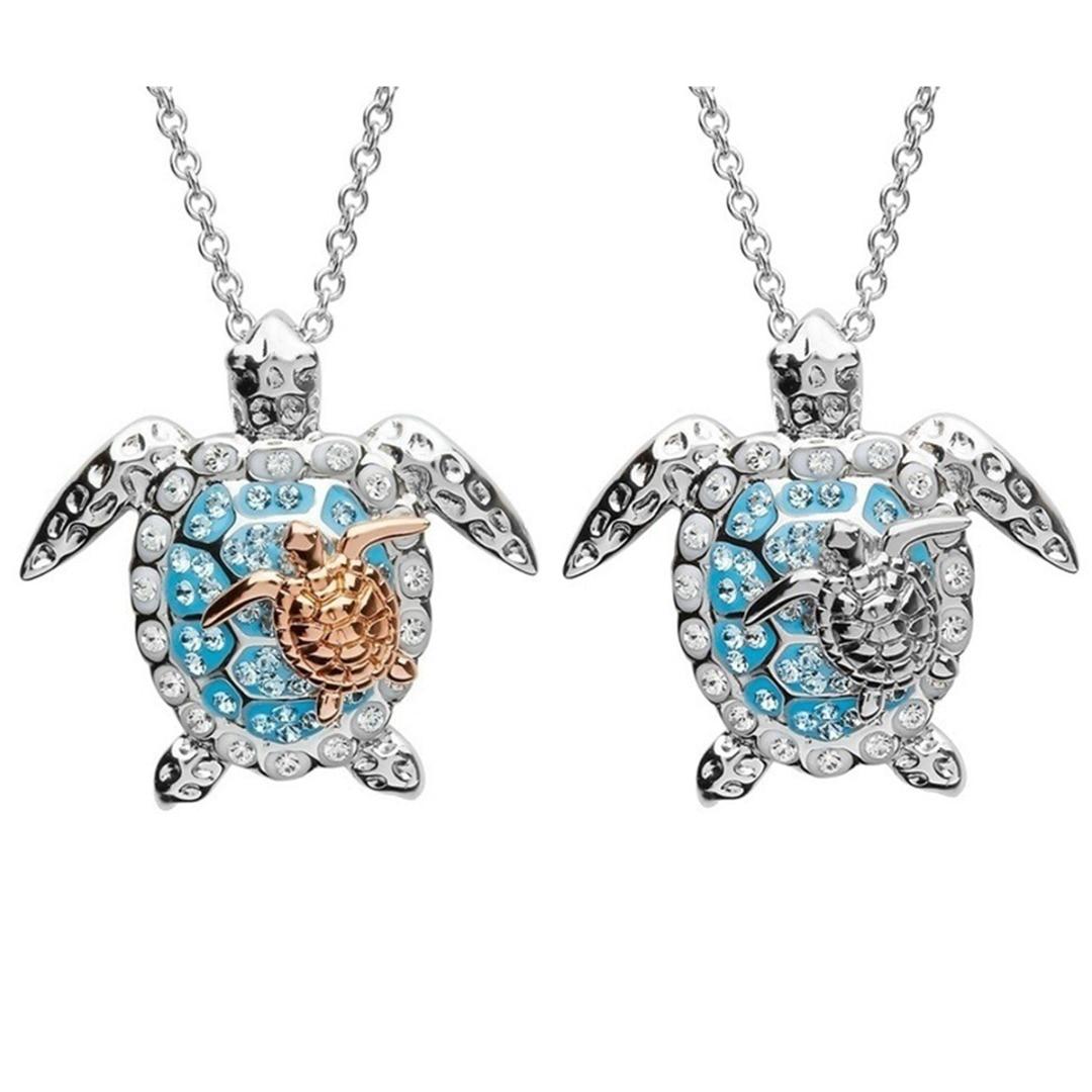 Novo bonito duplo mar tartaruga pingente colar feminino strass animal colar oceano praia jóias presente