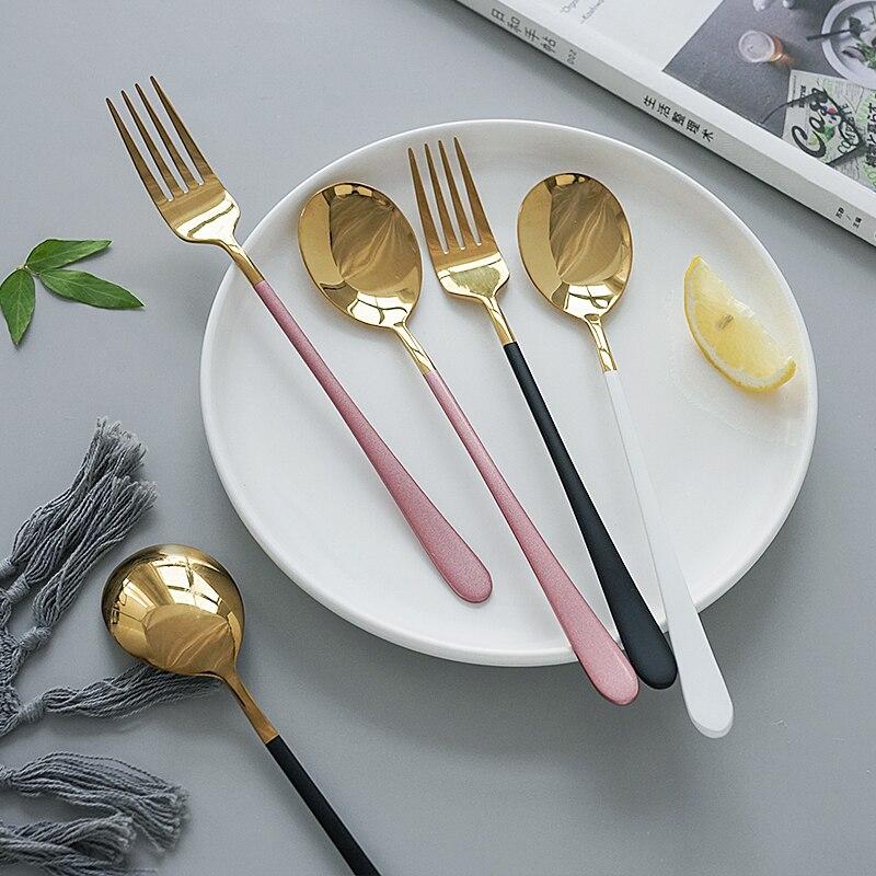 Spaghetti filete ensalada comida occidental cubertería vajilla de acero inoxidable cuchara tenedor cuchillo para fotografía tiro accesorios de Adorno