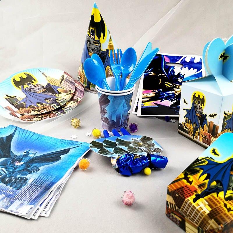Товары для вечеринки в день рождения с героями мультфильма «Бэтмен», детская скатерть, салфетка, конфетная коробка, чашки с отдувом, подарок...