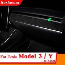 2021 Car Center Console Dashboard Trim Cover For Tesla Model 3 Y ABS Faux Fur Car Interior Strip Sticker Accessories 2017 - 2021