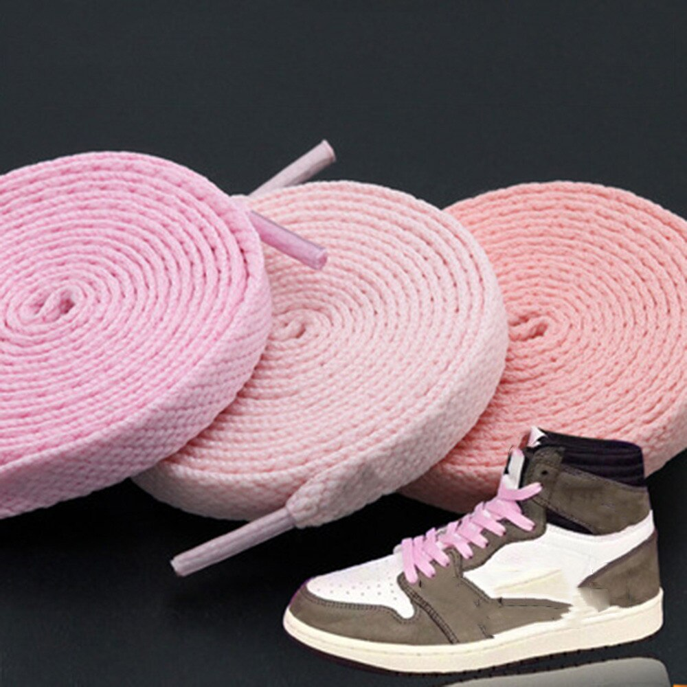 1pair 120/130/140/160CM Shoelaces Pink Sport Travel Shoelace Classic Jelly Color Flat Polyester Shoe