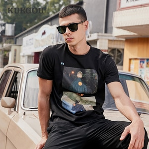【Kuegou】Men's short sleeve T-shirt  Hong Kong style Ins style Fashion printing T-shirt Summer men's clothes PT-1275
