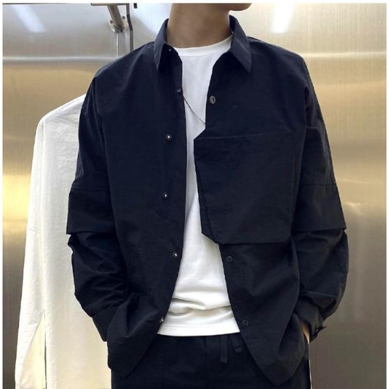 Ewq/masculino usar retalhos remendo cor sólida preto branco shir manga longa bolso irregular masculino casual moda topos