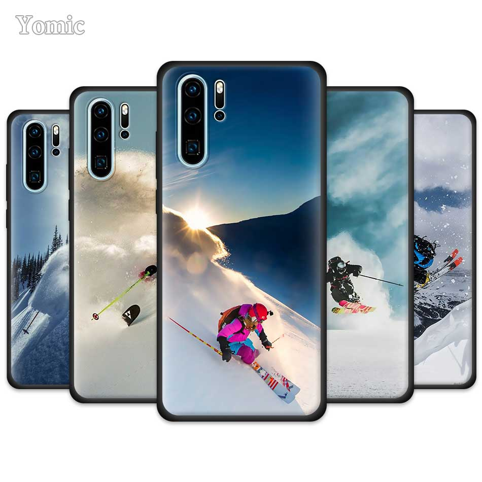 Funda de esquí Snowboard Skis para Huawei P30 P40 Pro P20 Lite P Smart Plus 2019 Enjoy Z 5G Y5p Y6p Y8s cubierta de teléfono suave negro