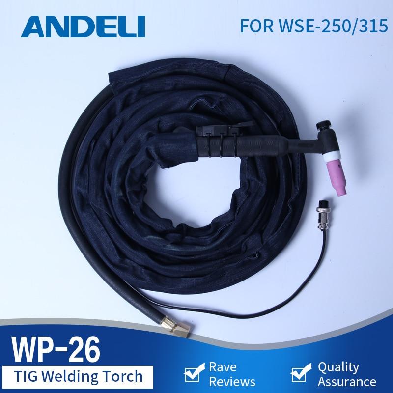 ANDELI AC/DC TIG Torch Welding nozzle tools Gun WP-26 4m for AC/DC TIG Welding Machine TIG Welding Torch solder wire