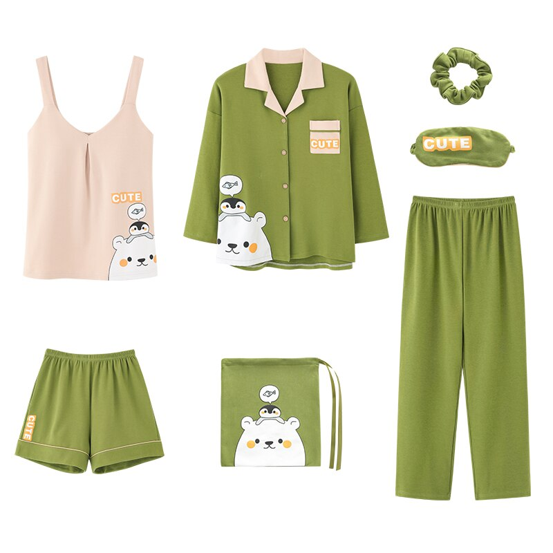 Пижамный комплект JRMISSLI, Женский костюм для сна, ночные рубашки из 7 предметов, пижамы, хлопковая одежда для сна, весенняя одежда для сна, дома...