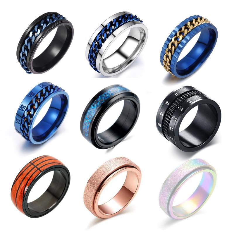 Фото - Вращающиеся кольца-цепочки для мужчин и женщин, обручальное кольцо-Спиннер для снятия стресса, 9 видов, ювелирный подарок на палец hpolw моды кулон ювелирный бутик цепочки с 23 дюйма