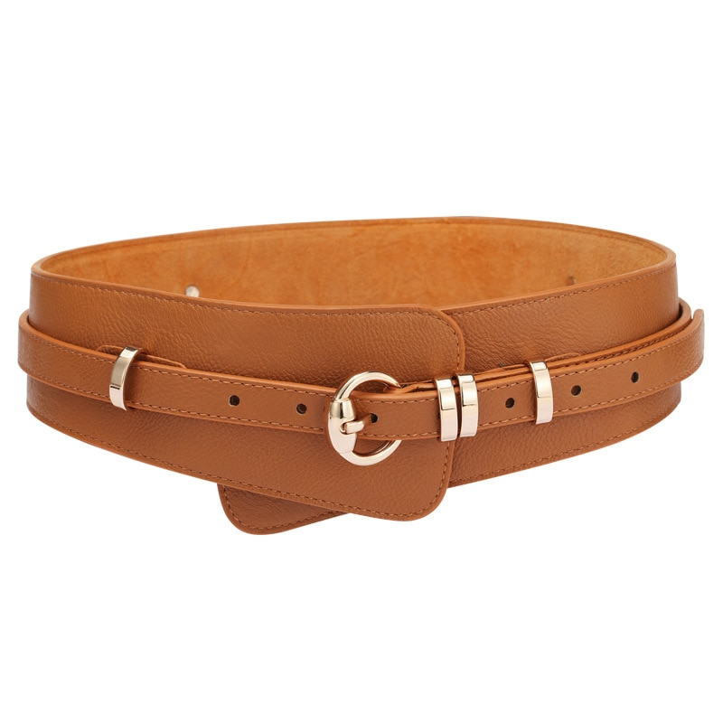 Fashion Luxury ladies wide belt elastic vintage buckle leather wide fashion pin buckle women's belt seal Girdle Female Waist funny rectangle buckle embellished furry wide waist belt