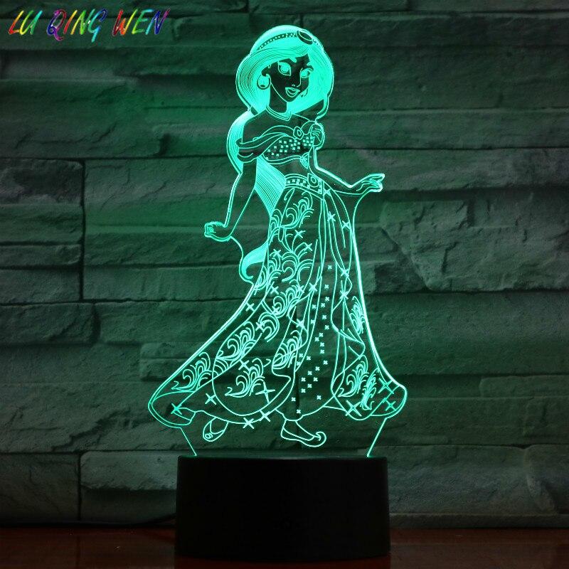 Мультфильм Принцесса Жасмин 3d Ночник светильник Led девушка день рождения дочери подарок декор комнаты светильник сенсорный сенсор настоль...