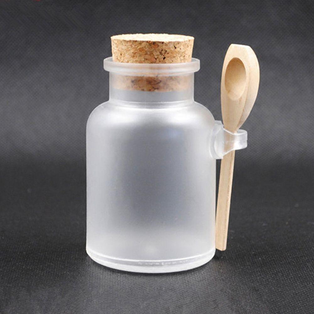 1 Juego de jarras de sal de baño de 100ml Scrub ABS tarro de máscara cosmética con cuchara de madera botellas de embalaje Almacenamiento y organización del hogar