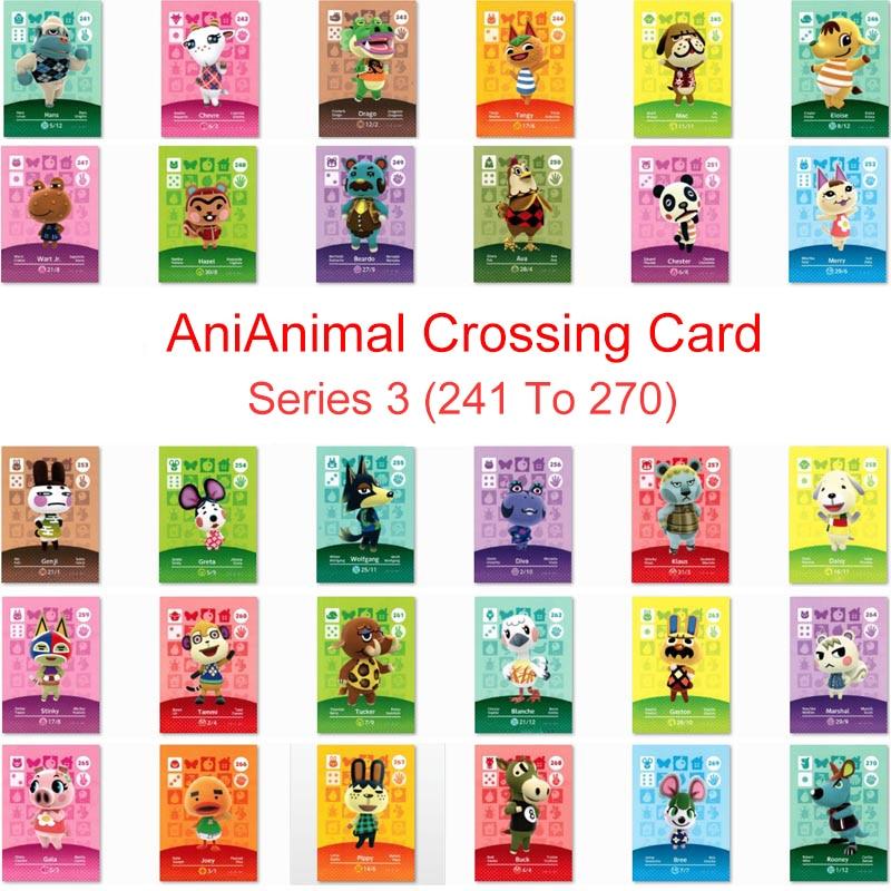 Серия 3 (241-270) карточка для скрещивания животных Amiibo карта для NS 3DS Switch Game New Horizons Tangy Wolfgang Marshal Card