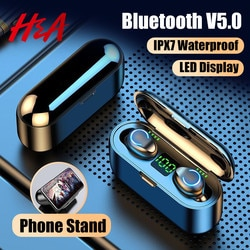 H & A Mini TWS Bluetooth V5.0 наушники беспроводные наушники 9D Hifi спортивные водонепроницаемые беспроводные наушники гарнитура наушники
