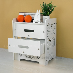 Nightstand with Drawers Bedside Table Clouds Pattern Coffee Tea Table Living Room Balcony Locker White Hollow Carved Locker