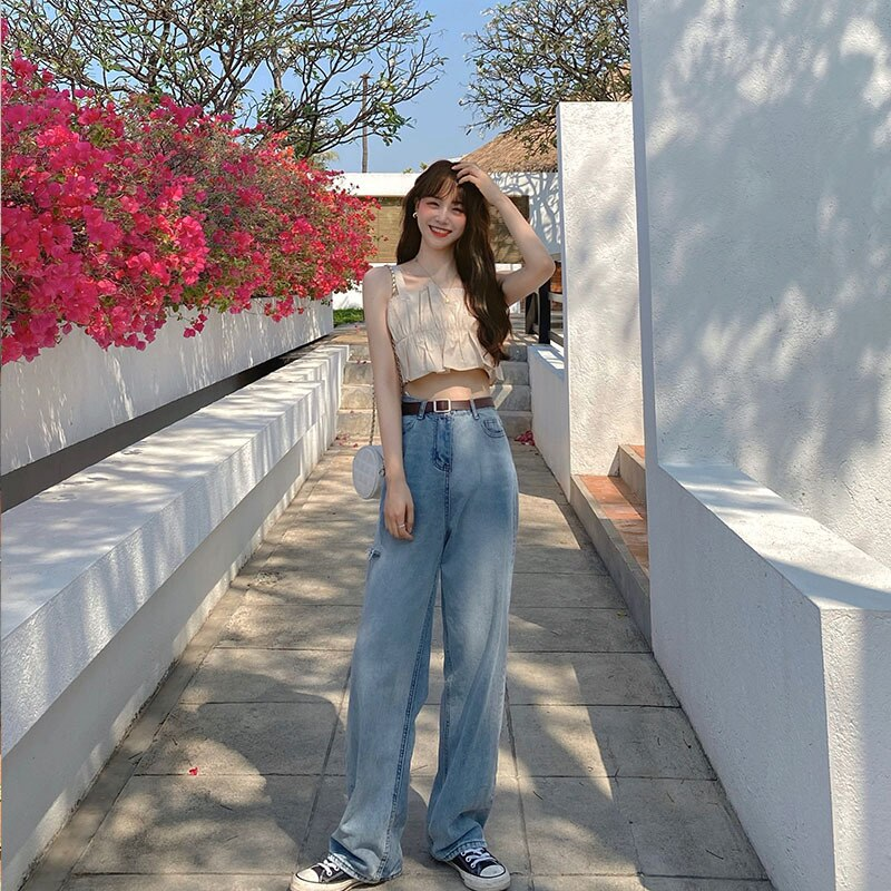 Spring Summer Autumn Jeans New Korean Fashion Casual Tide High Waist Jeans Plus Size Female Jeans Women Loose Wide Leg Pants