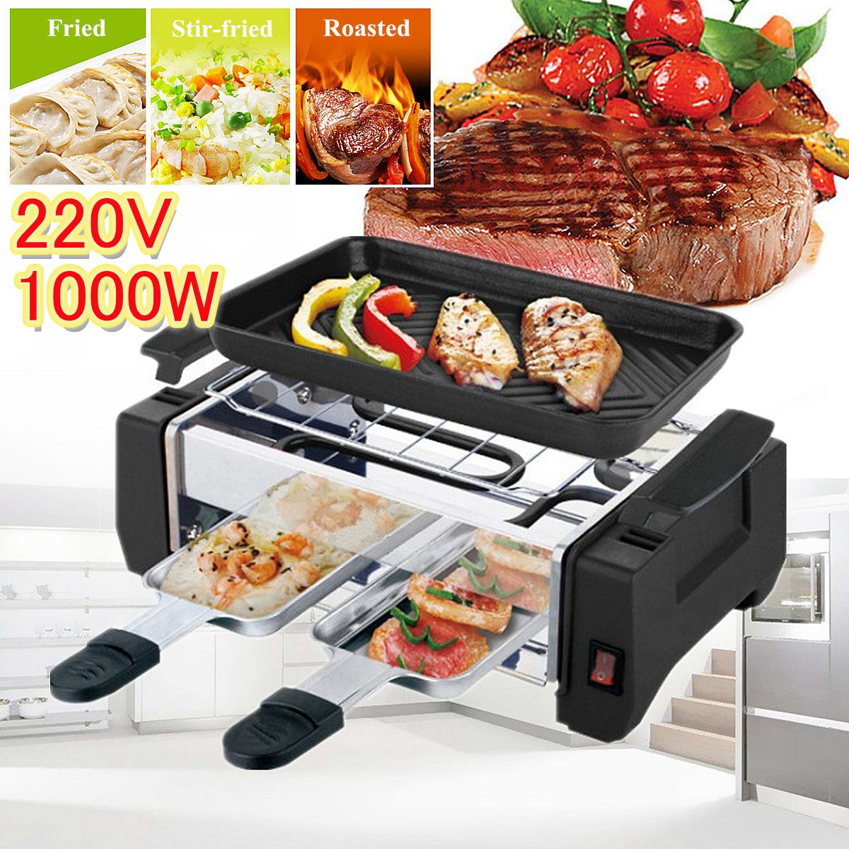 1600w electric shabu roasted pot multifunctional electric pan grill bbq grill raclette grill electric hotpot with grill pan 1000W Non Stick Electric BBQ Grill Kitchen Barbecue Machine Grilled Meat Pan Contact Grill 2 Type Frying Pan for Home Store Cook