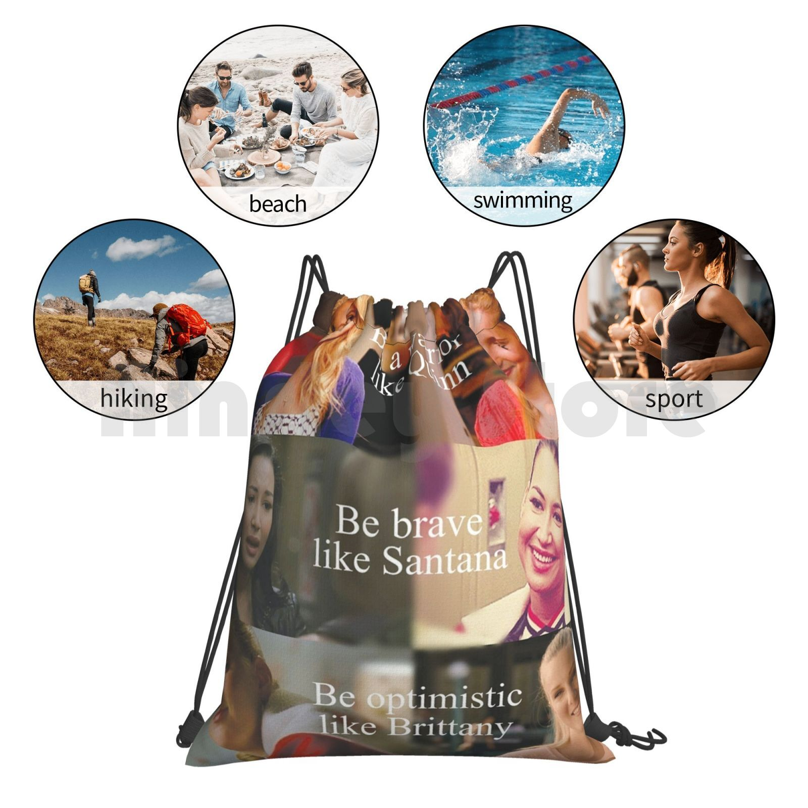 Glee The Unholy Backpack Drawstring Bags Gym Bag Waterproof Quinn Fabray Santana Lopez Glee Brittany Pierce Brittany S