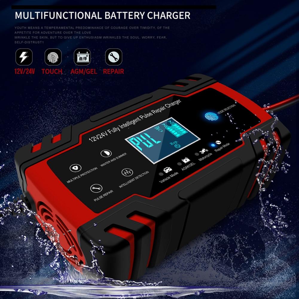 Автомобильное зарядное устройство для аккумуляторов 12 В 8 а/2 А, импульсное Ремонтное зарядное устройство с ЖК-дисплеем для автомобиля, мото...