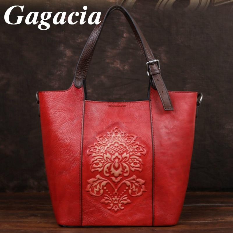 Gagacia Genuine Leather Women's Shoulder Bag Chinese Style Handmade Embossed Bucket Bags Vintage Large capacity Handbags Female