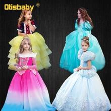 Boutique Girls Little Mermaid Ariel Dress Fancy Cinderella Dress Up Halloween Snow White Costume Gorgeous Birthday Party Dresses