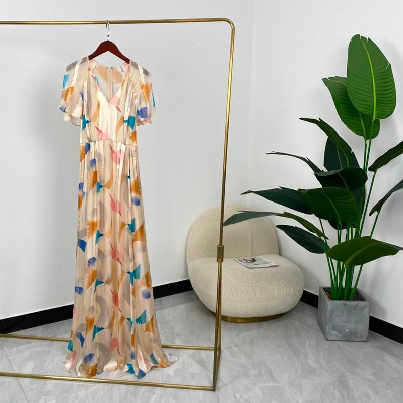عالية الجودة الحرير جديد الصيف النساء الموضة ألف خط الملونة هندسية طباعة قصيرة الأكمام الكاحل طول فساتين