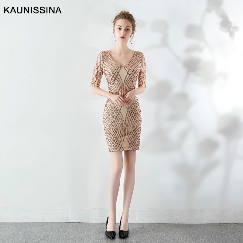 KAUNISSINA-فستان سهرة قصير مطرز بالترتر ، ياقة على شكل V ، نصف كم ، ثوب كرة مطرز