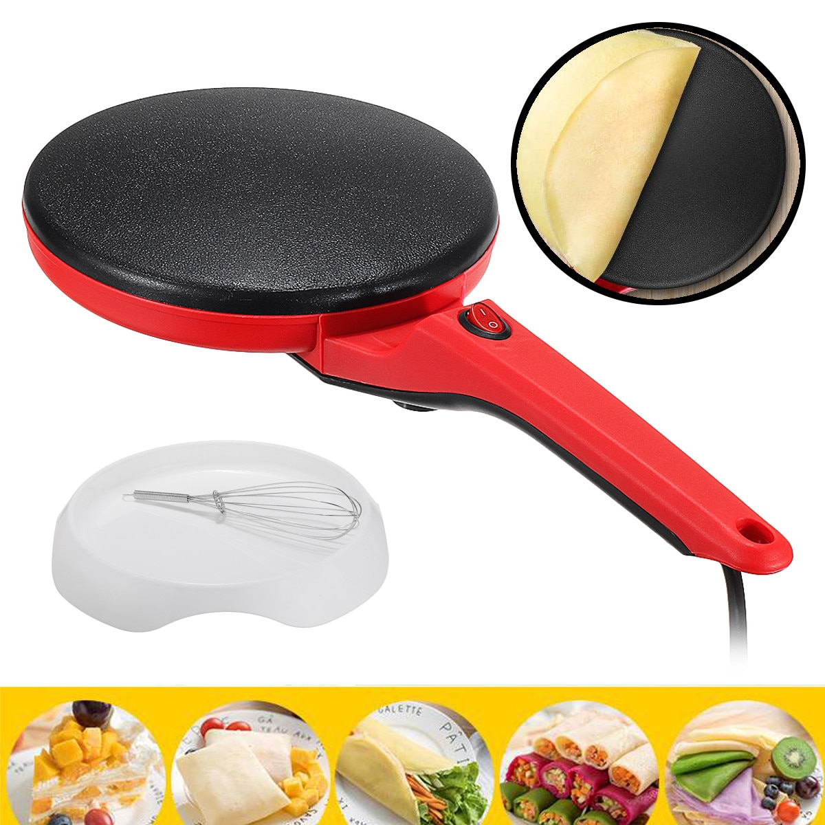 Household Non-Stick Crepe Maker Portable Pan Pie Electric Pancake Cake Machine Frying Griddle Machine Kitchen Baking Tools 220V electric crepe maker 600w non stick pizza pancake machine griddle baking pan cake machine kitchen appliances