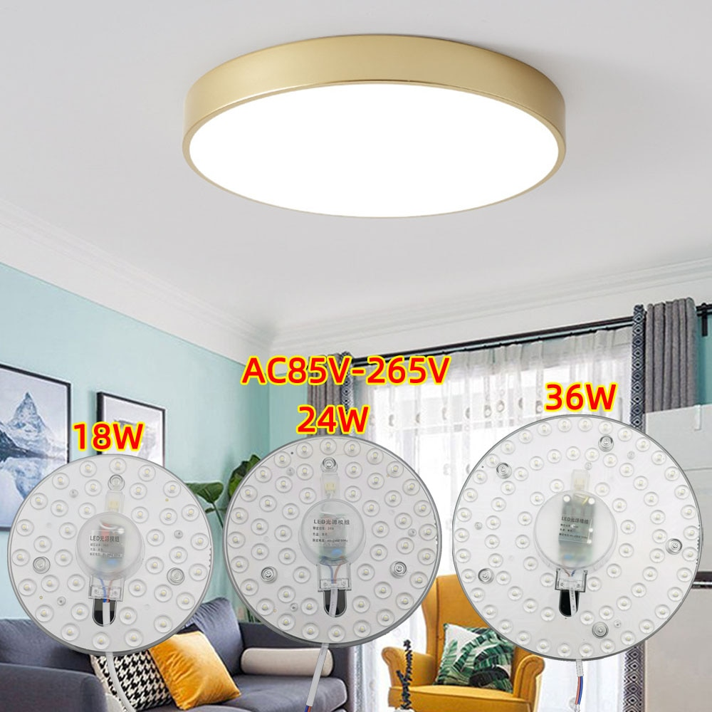 12w 18w 24w 32w ac220v led downlight lamp plate ceiling light source module replace u o type cfl esl tube bulb 20w 30w 40w 50w Ceiling Lamps LED Module 85-265V AC220V 110V 36W/18W/24W LED Light Replace Ceiling Lamp Lighting Source Convenient Installation