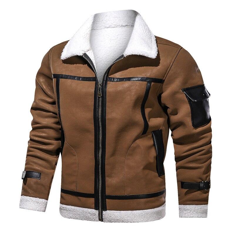 2020 New Plus Velvet Leather Jacket Men Large Size Casual Lapel Solid Color Winter Fashion Pu Warm Thick Mens