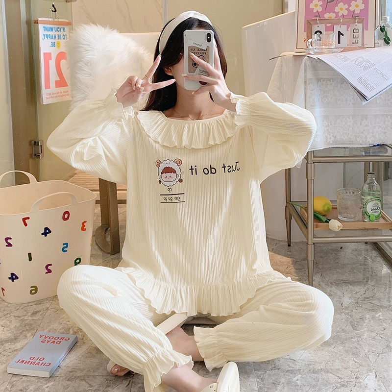 Princess Style Pajamas Women's Summer Long Sleeve Pure Cotton Thin Spring and Autumn Winter Home Clo