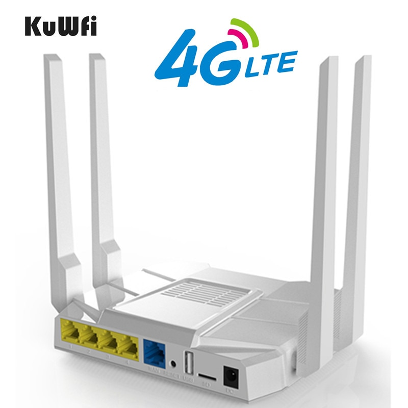 KuWfi 4G موزع إنترنت واي فاي 1200Mbps لاسلكي متعدد الموجات راوتر 2.4Ghz و 5.8Ghz CPE مع بطاقة Sim/LAN ميناء مكاسب عالية 4 هوائيات الشبكة