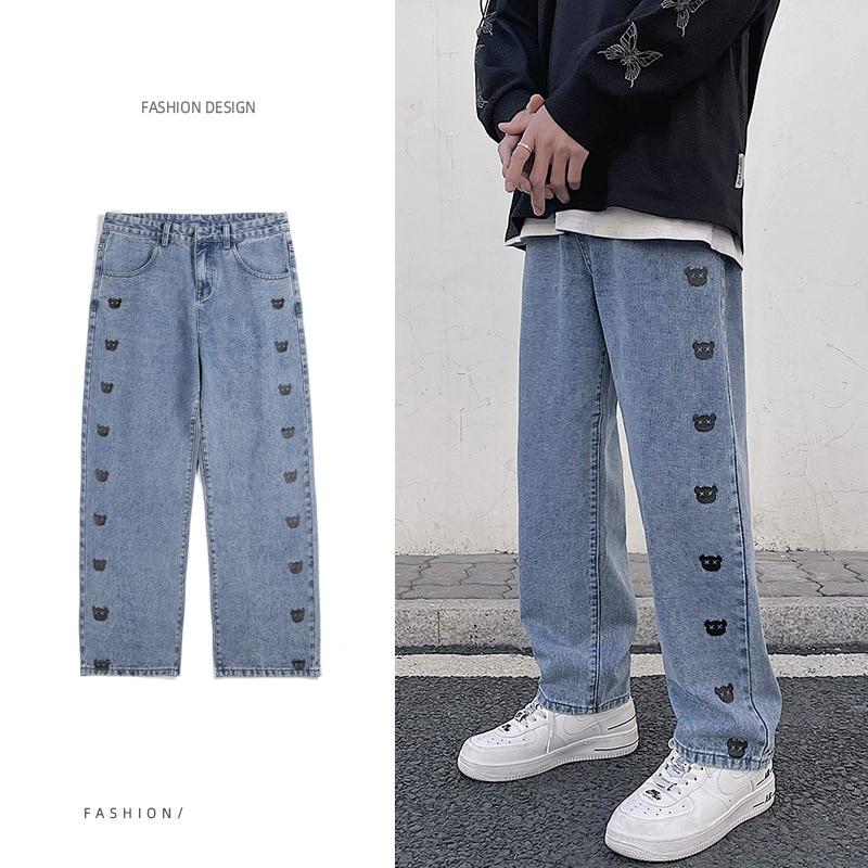 الرجال الطباعة الجينز موضة مستقيم جديد عادية بنطال ذو قصة أرجل واسعة كاوبوي مان الشارع الشهير الكورية الهيب هوب بنطلون جينز الصيف