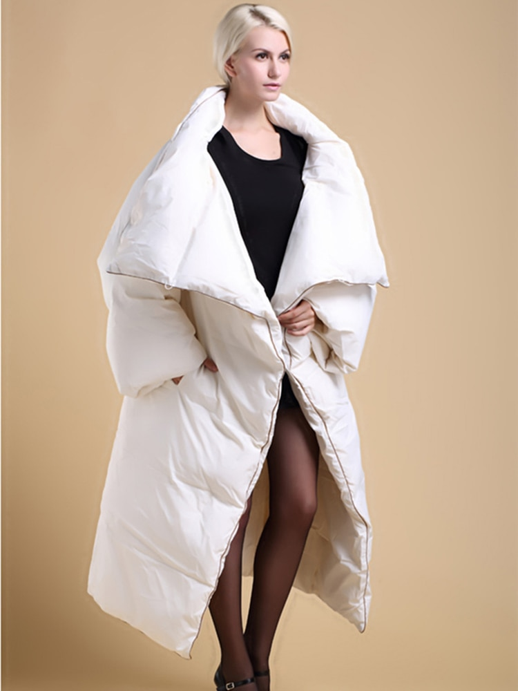 Women Plus Big Size Winter Clothing X-long Quilt Duck Down Coat Warm Thickening Jacket Parka 2017 Removable Sleeves Black White