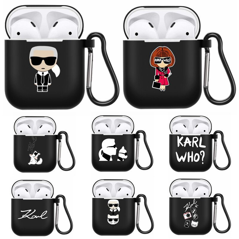 Fashion Brand Designer KARLs Headphone Case For Apple Airpods 1/2 Shockproof Silicone Protection Wir