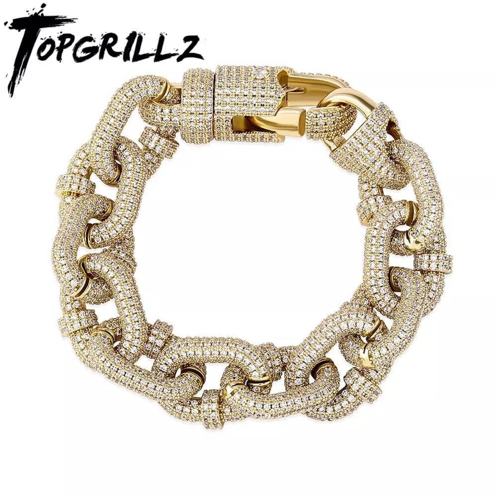 Review TOPGRILLZ 17mm Miami Cuban Chain Bracelet High Quality Micro Pave Iced Out Cubic Zirconia Men's Hip Hop Fashion Jewelry For Gift