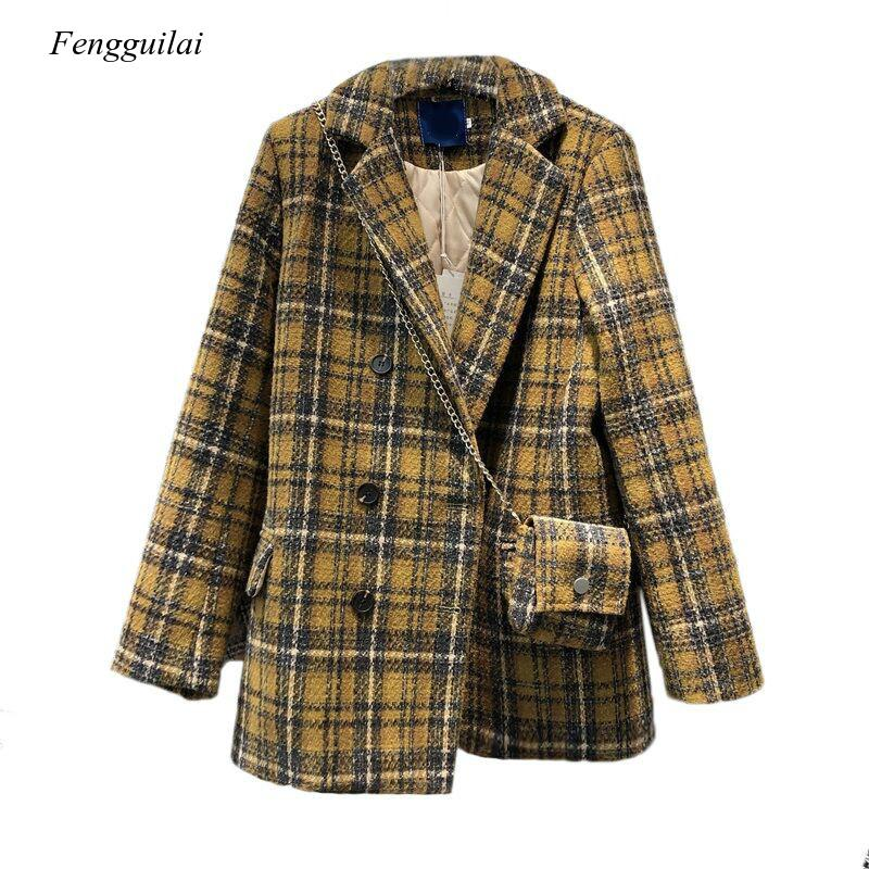 Autumn and Winter New Style Retro Suit Collar Loose Cotton Wool Coat with Bag Woolen