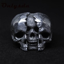 Onlysda Cool Men's Calvarium Skull Ring With Cross Gothic 316L Stainless Steel Biker Anel Motorcycle