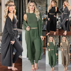 Autumn and Winter 2021 New Fashion Knitting Three Suits Women's Knitting Slim Temperament Vest Pants Sportswear Plus Size Suit