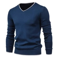 2021 new cotton pullover v neck mens sweater fashion solid color high quality winter slim sweaters men navy knitwear