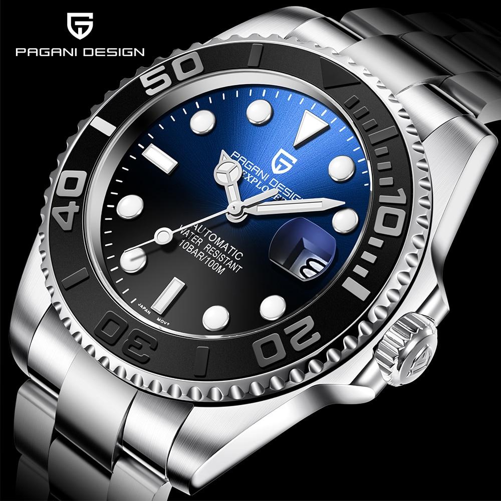 PAGANI Design Men Automatic Watch Sapphire Luxury Mechanical Wristwatch Stainless Steel Waterproof W