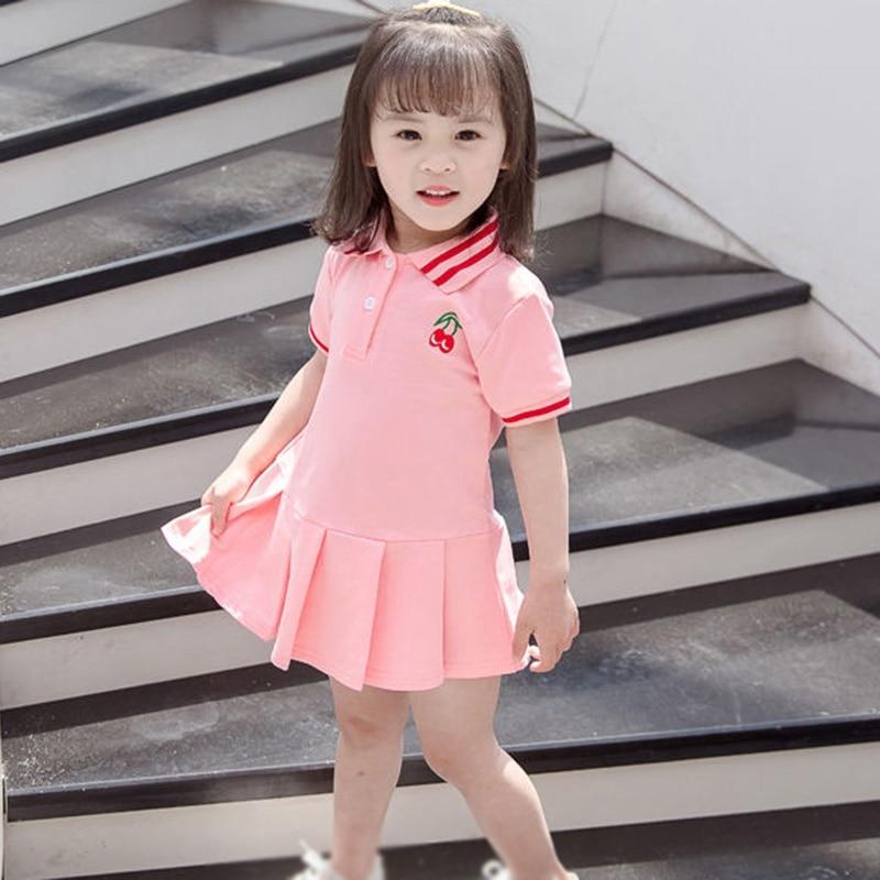 Baby Girl Lapel Tennis Dress Summer Children Clothing Pleated Dress Kids Short Sleeve Shirt Dresses