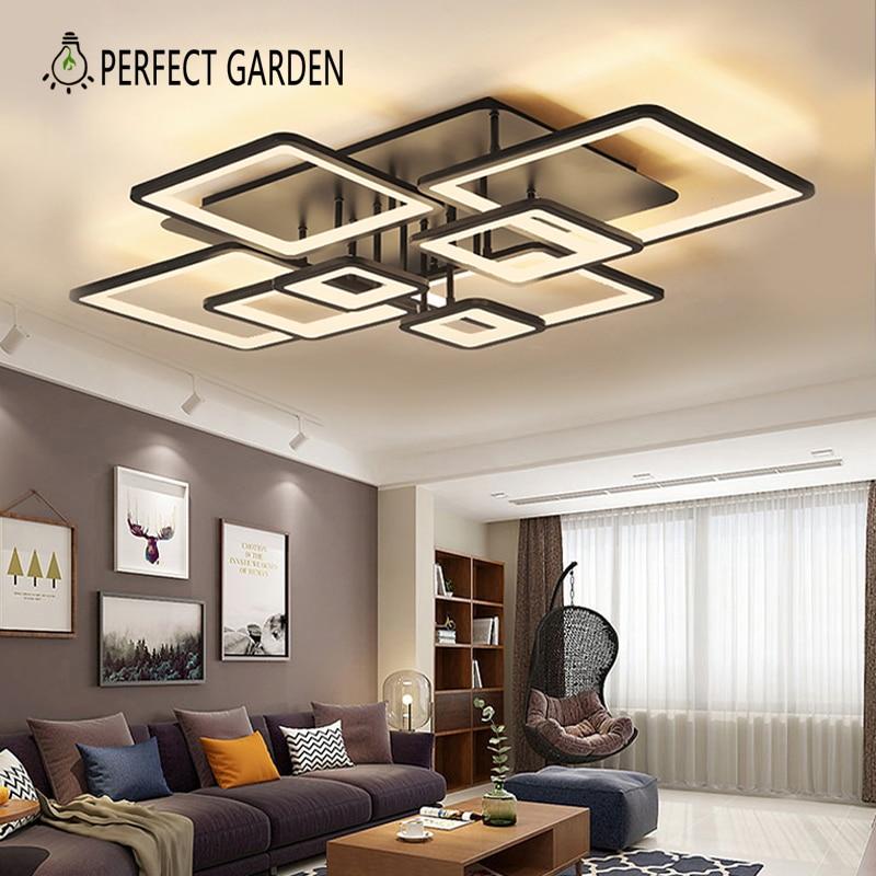 Черные квадратные потолочные светильники для кухни, гостиной украшения светодиодные потолочные светильники люстры с подсветкой для комна...