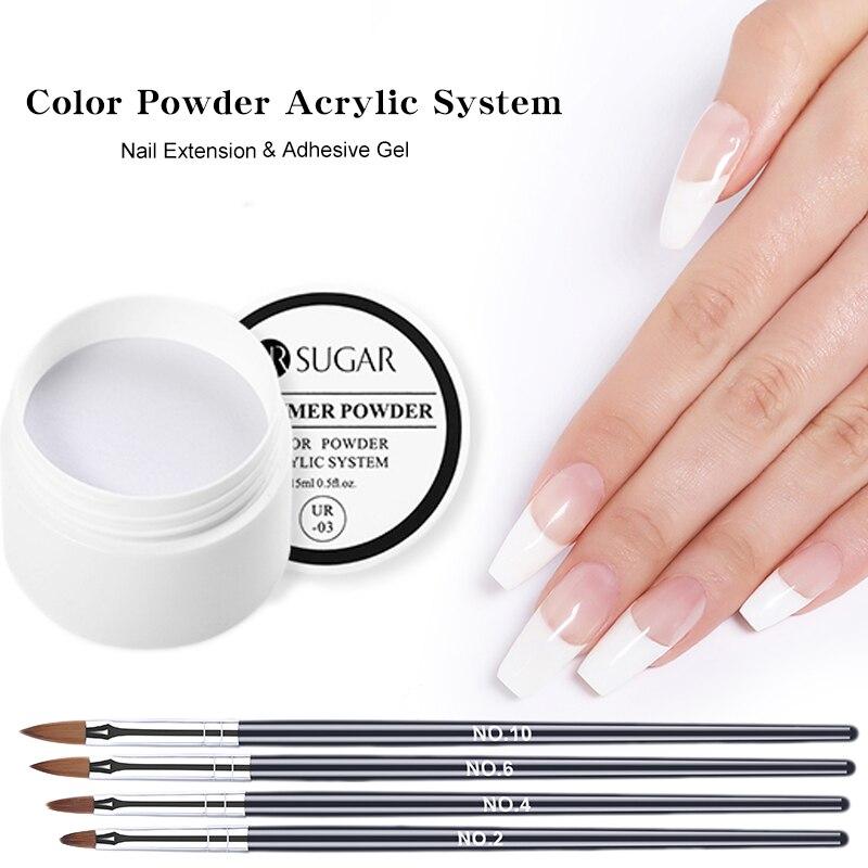 Kit de uñas acrílicas en polvo de cristal de polímero de uñas 5 uds pincel tipo lápiz para decoración de uñas UV Gel de uñas acrílico en polvo envío gratis