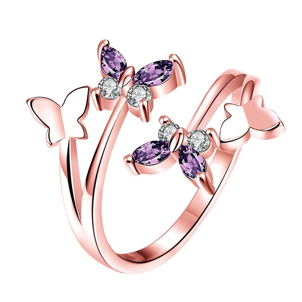 Moda borboleta ametista roxo cristal zircon diamantes pedras preciosas anéis para mulher rosa cor de ouro jóias bijoux acessórios