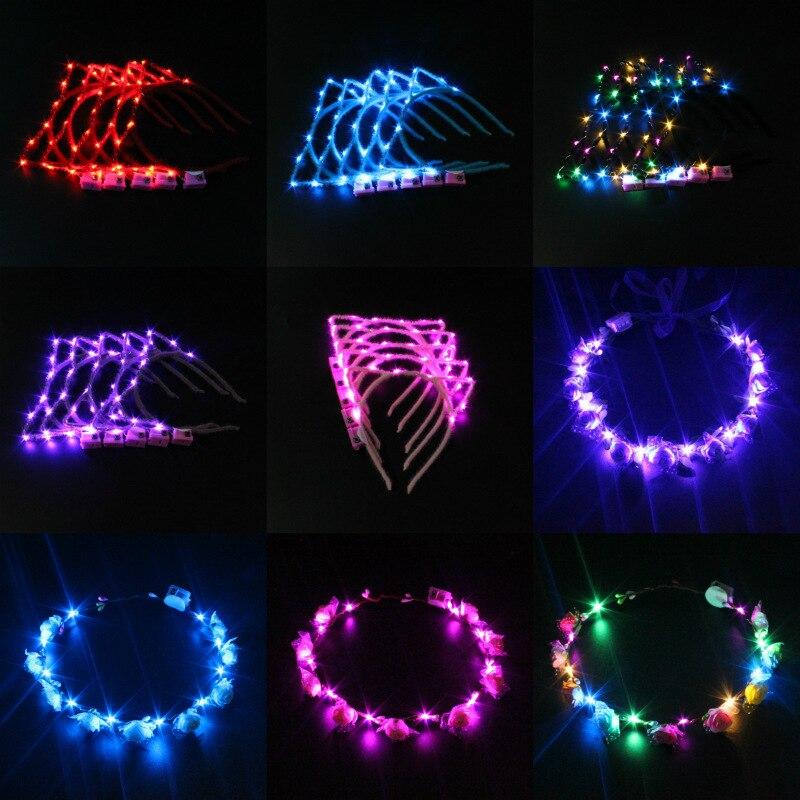 Guirnaldas brillantes, luces de Oreja de Gato, diadema, corona de flores, fiesta, regalo de niña, decoración del hogar, boda, cumpleaños